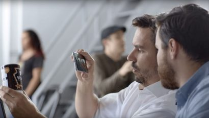 Zubr Founders Jack Norris and James Biggs testing augmented reality content