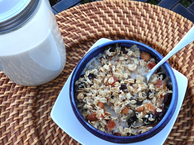 homemade granola with almond milk