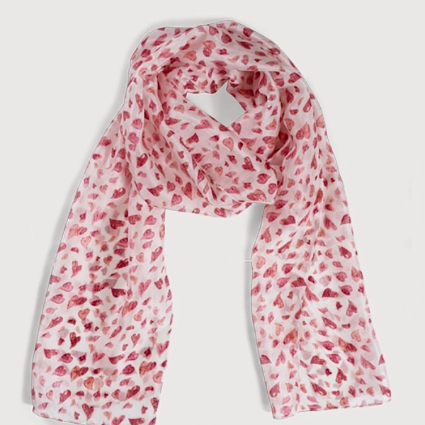 Printed Silk Scarf Amour Pink