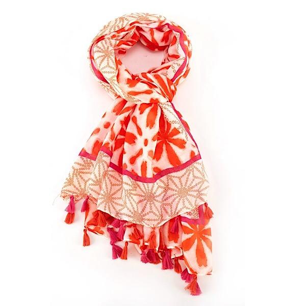 Tassel Flower Scarf - Orange Pink