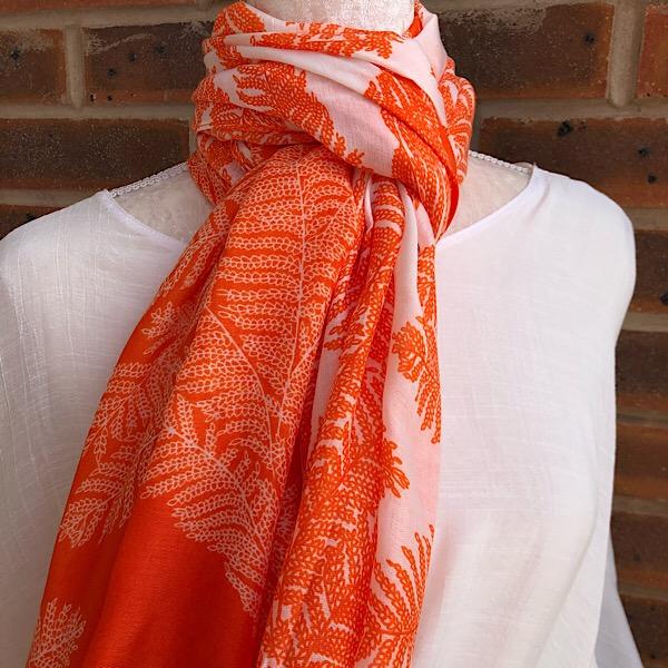 fern scarf orange