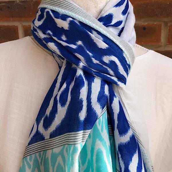 Aztec scarf blue aqua