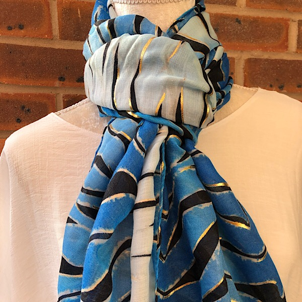 zebra print scarf blue