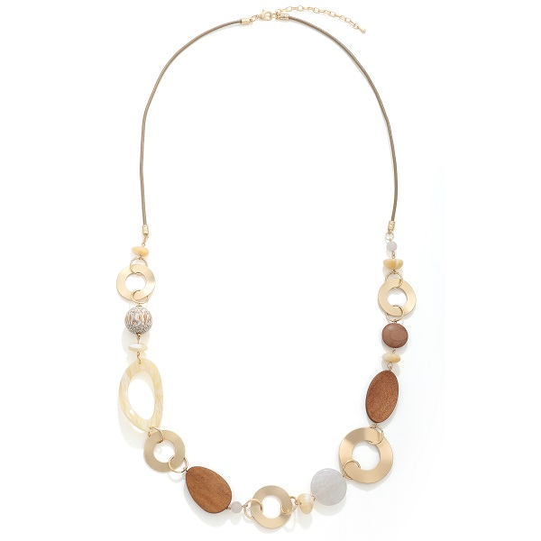 Long resin & wood chain cream & gold