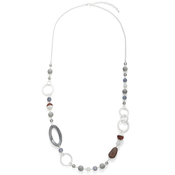 Long resin and bead necklace grey & silver