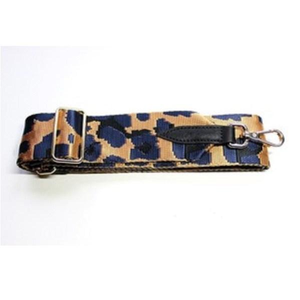 Animal Print Bag Strap - Navy Gold