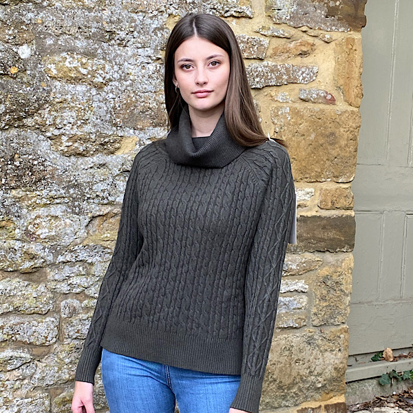 Cable Knit Polo Neck Jumper Charcoal