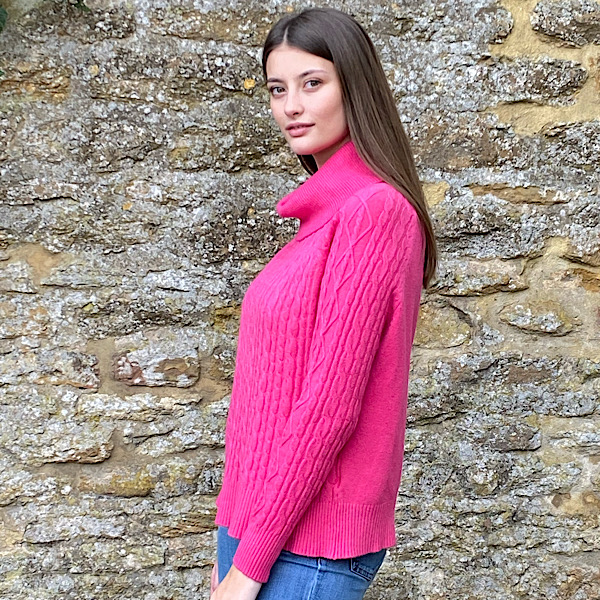 Cable Knit Polo Neck Jumper Fuchsia