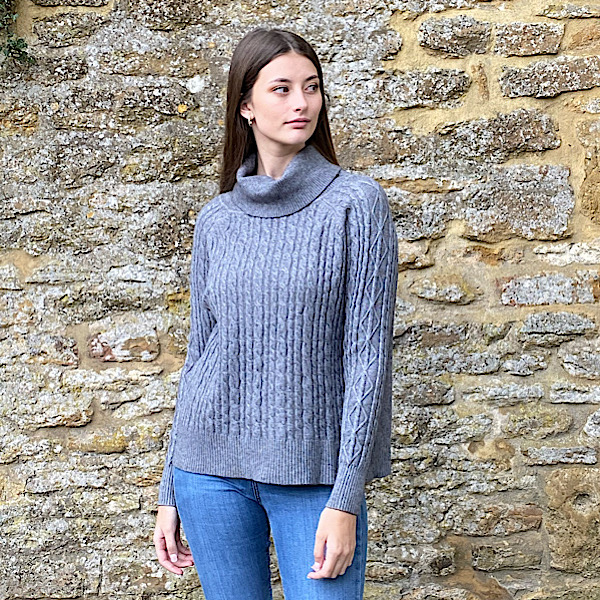 Cable Knit Polo Neck Jumper Grey