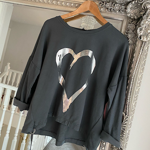 Cropped Heart Side Tie Sweatshirt Charcoal