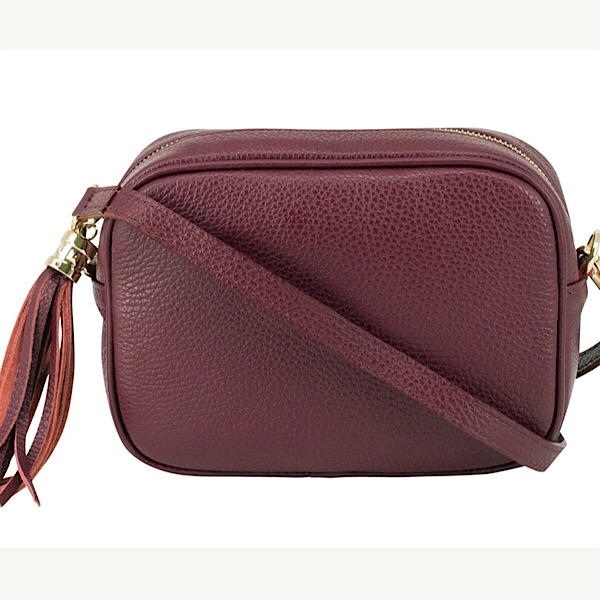 Italian Leather Tassell Bag Burgundy