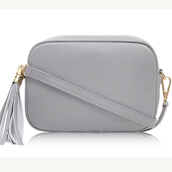 Italian Leather Tassell Bag Mid-Grey