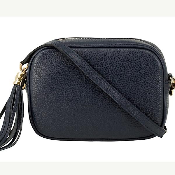 Italian Leather Tassell Bag Navy