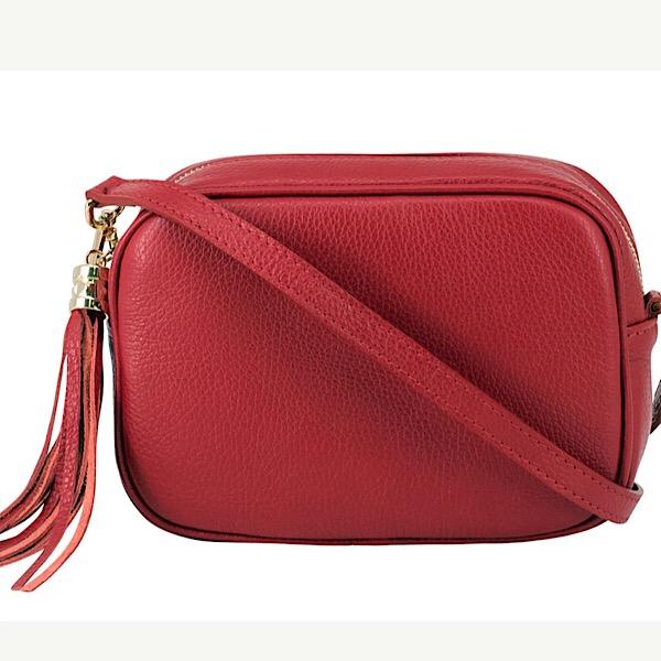 Italian Leather Tassell Bag Red