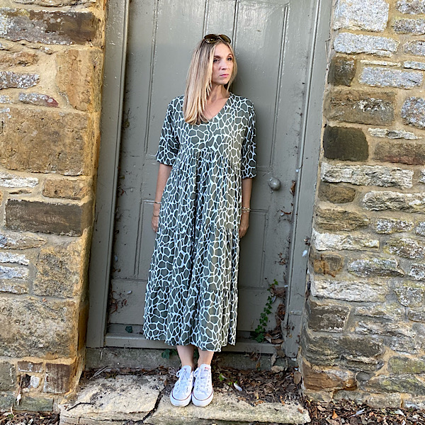 Long Tiered Giraffe Print Dress Khaki