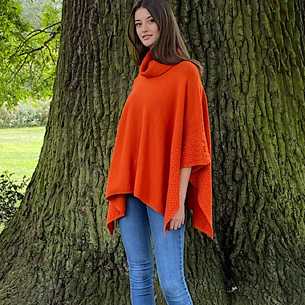 Polo Neck Poncho Orange