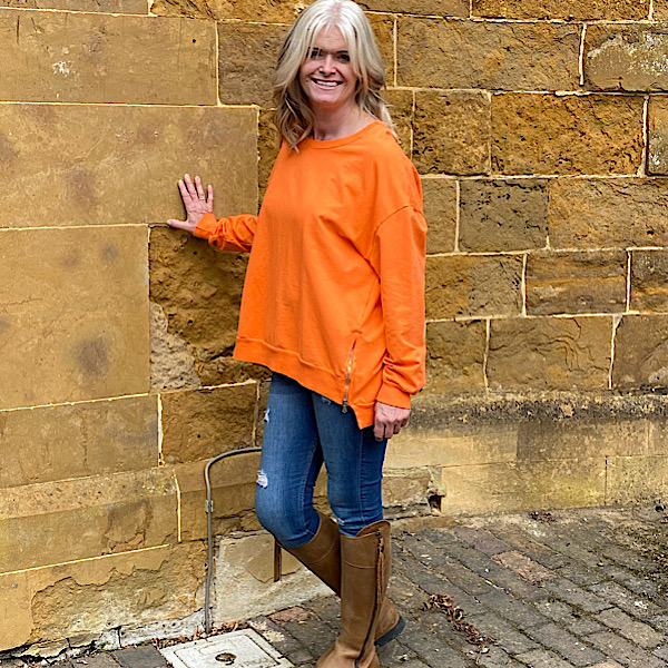Side Zip Sweatshirt Orange