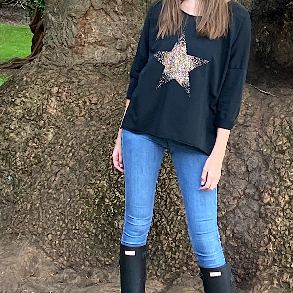 Star Crew Neck Sweatshirt Black