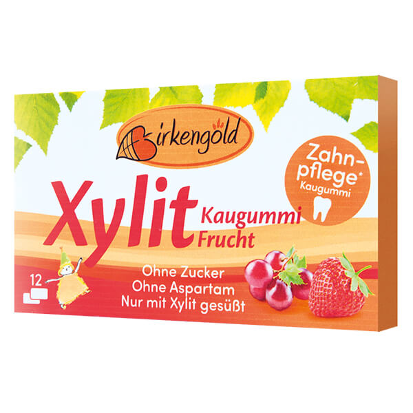 Xylit Kaugummi Fruit 12 Dragees. Xylit Kaugummi kaufen im Zucker-frei Online Shop. Zahnpflegender Xylit Gum ohne Zucker. Aspartamfrei