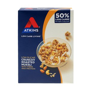 Atkins Day Break Crunchy Müsli 325 g. Low Carb Müsli kaufen. Atkins Day Break kaufen. Hoher Proteinanteil (5,25g / P), 6,4 g Kohlenhydrate. Low Carb Müsli