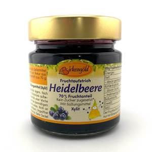 Birkengold Fruchtaufstrich Heidelbeer mit Xylit ♛ Unser Bestseller ♛ Glas mit 200g Inhalt, 70% Fruchtanteil aus Biofrüchten. Gesüßt mit Xylit (Birkenzucker)