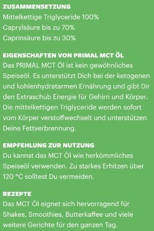 Primal State PRIMAL MCT ÖL (Kokosextrakt) 500 ml Glasflasche