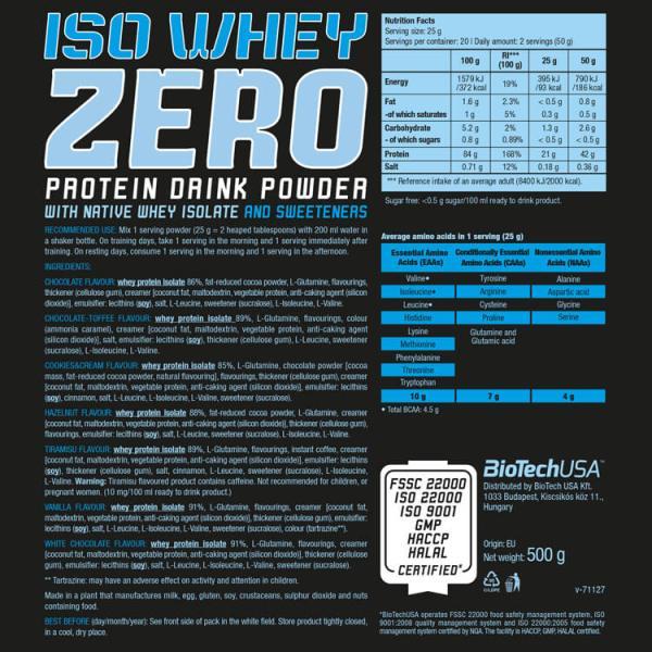 BioTech USA Iso Whey Zero 500 g kaufen