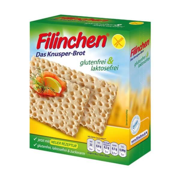 Filinchen Knusperbrot glutenfrei laktosefrei ohne Zuckerzusatz, Filinchen kaufen. Filinchen Knäckebrot 100g Packung. Ohne Laktose, Gluten, Zucker online!