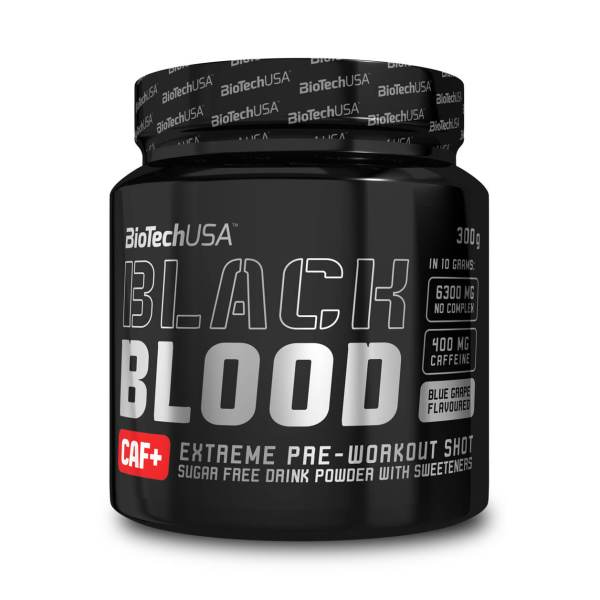 BioTech USA Black Blood CAF+ Pre Workout Booster Blaubeere 300 g Dose kaufen. 400 mg Koffein, 6.300 mg NOX-Rezeptur. BioTech USA Black Blood CAF+ Blaubeere