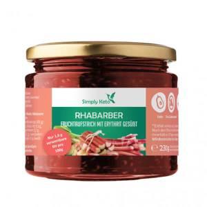 Simply Keto Rhabarber Fruchtaufstrich zuckerfrei mit Erythrit 250 ml Glas kaufen. Zuckerfreie Marmelade, Low Carb & Keto Marmelade kaufen von Simply Keto.