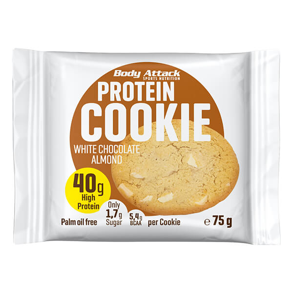 Body Attack Protein Cookie White Chocolate Almond 75 g kaufen. 40 g Eiweiß / 75 g Keks, Low Carb Cookie mit nur 299 kcal und 5 g BCAAs Body Attack Cookie