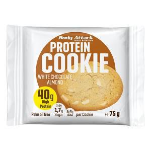 Body Attack Protein Cookie White Chocolate Almond 75 g kaufen. 40 g Eiweiß / 75 g Keks, Low Carb Cookie mit nur 299 kcal und 5 g BCAAs Body Attack Cookie