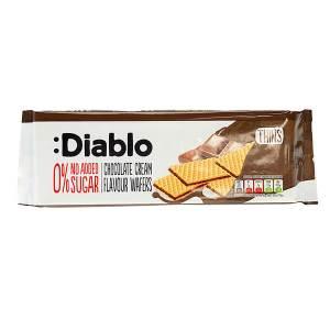 Diablo Chocolate Cream Flavour Wafers Waffel ohne Zuckerzusatz 160 g. Low Carb Waffel gesüßt mit Xylit, Maltit und Sucralose. Diablo Schoko Waffel kaufen!