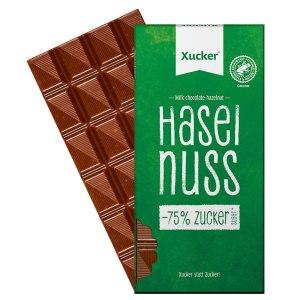 Xucker Edel-Vollmilch-Schokolade mit Haselnuss 80 g Tafel online kaufen. Xucker Schokolade kaufen. Xucker Edel Vollmilch Schokolade mit Xylit gesüßt kaufen.