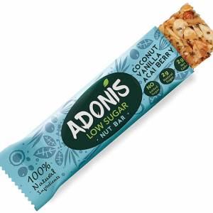 Adonis Nussriegel Müsliriegel Low-Carb glutenfrei vegan paleo Kokos Vanille Acaibeere 35 g Riegel. Adonis Nuss Riegel, Müsliriegel online kaufen