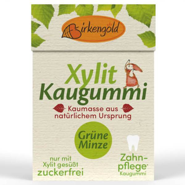 Birkengold Xylit Kaugummi mit natürlicher Kaumasse Grüne Minze 28 g kaufen. Xylit Kaugummi kaufen von Birkengold, gesüßt mit zahnfreundlichem Birkenzucker