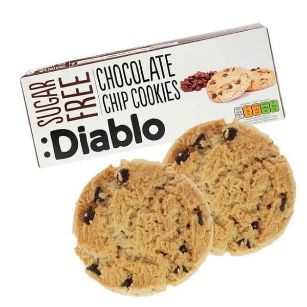 Diablo Chocolate Chip Cookies zuckerfreie Kekse 130 g kaufen. Kekse ohne Zucker Zusatz von Diablo kaufen. Kalorien reduzierte zuckerfreie Kekse kaufen!