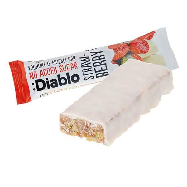 Diablo Müsliriegel ohne Zuckerzusatz Erdbeer-Joghurt 30 g online kaufen. Diablo Müsli Riegel ohne Zuckerzusatz. Idealen Müsliriegel Low Carb Snack kaufen