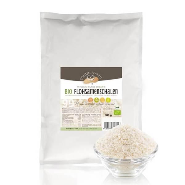 Golden Peanut Indische Bio Flohsamenschalen 99% Reinheit höchste Quellzahl allergenfrei glutenfrei vegan 500 g Beutel. Bio-Flohsamenschalen online kaufen!