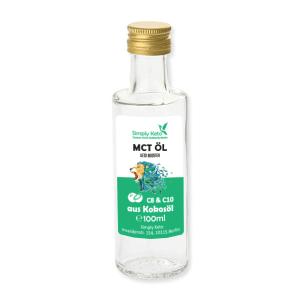 Simply Keto MCT-Öl Keto Booster 100 ml Glasflasche. MCT Öl online kaufen von Simply Keto. Die MCT Öl Premium Qualität in der 100ml Flasche kaufen!