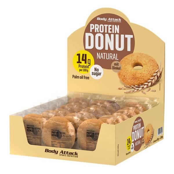 Body Attack Protein Donut Natural 60 g online kaufen. Low Carb Protein Snack, 13 g Eiweiß, Kohlenhydratereduziert, Kalorien reduziert, uvm. Donut kaufen