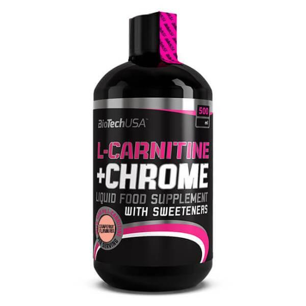 BioTech USA L-Carnitine + Chrome Getränk Grapefruit 500 ml Flasche