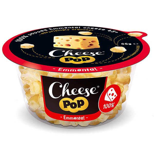 Cheesepop Emmentaler Käsesnack 65 g kaufen | 0 g Kohlenhydrate | lecerk und würzig im Geschmack. Hauptzutat Käse - sonst nichts!