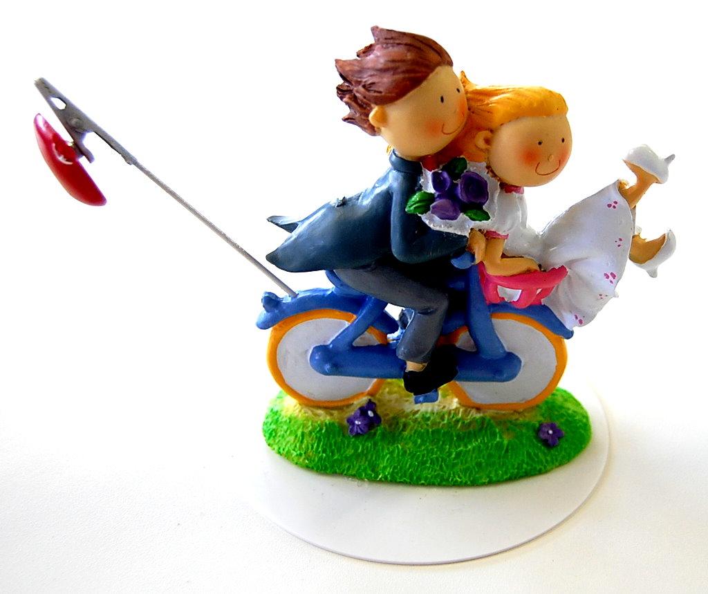 Brautpaar auf Fahrrad mit Herz  Zuckerpapier24de