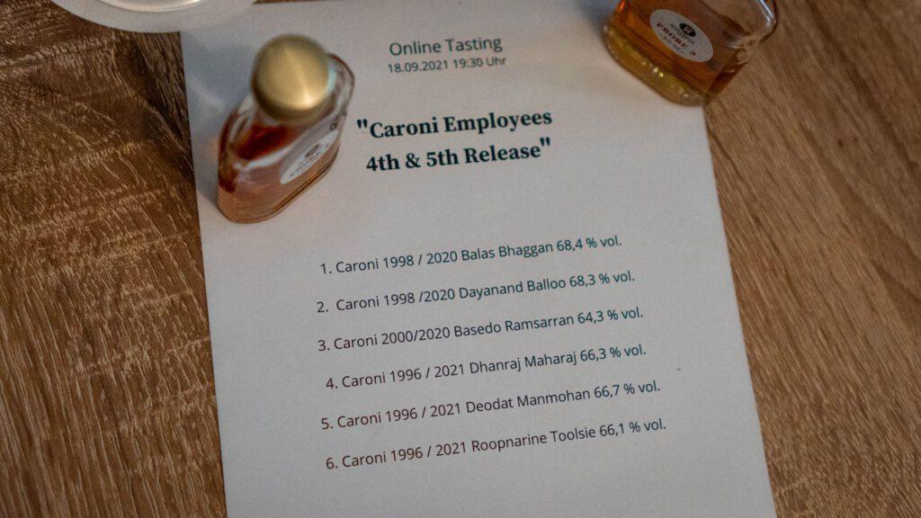 Caroni tasting liste
