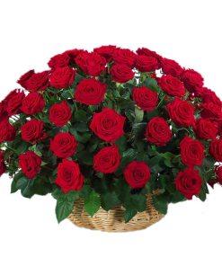 51 rozi koshnica - Red Roses Basket