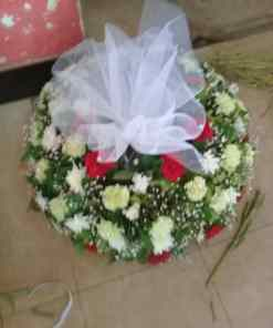 FUNERAL - Funeral Flowers - Red Plus White Roses and White Carnations