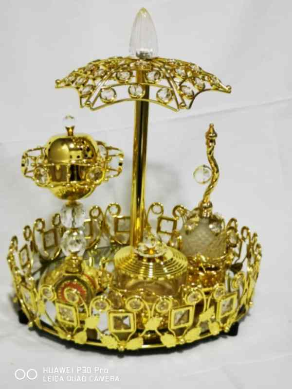 WhatsApp Image 2020 06 03 at 7.42.06 PM 1 - Gold Tray set with bowl burner with Small Attar And Perfume Bottle
