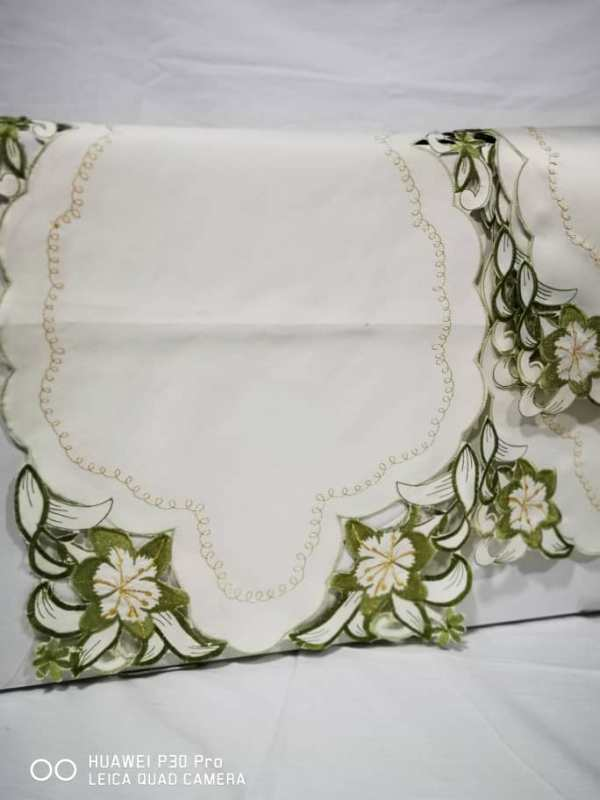 WhatsApp Image 2020 06 03 at 7.43.52 PM - Coffee Table Cloth with 4 Pc side Table Cloth - Cream and Green