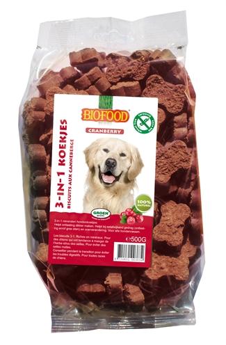 Biofood 3 in 1 hondenkoekjes met cranberry